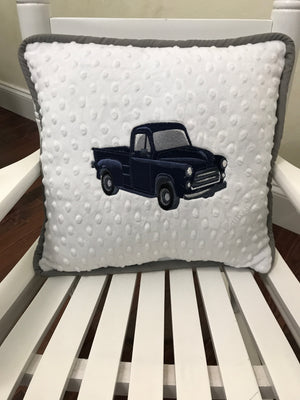Vintage Truck Accent Pillow in White, Gray, and Navy Blue