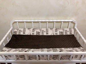 Changing Pad Cover - Cowboy Print with Brown Minky Dot