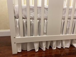 White Baby Girl Mini Crib Bedding Set - Girl Mini Crib Baby Bedding, White Mini Crib Bedding