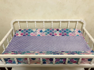 Changing Pad Cover - Mermaid Tile with Lavender Minky