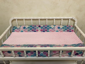 Changing Pad Cover - Mermaid Tile with Light Pink Minky
