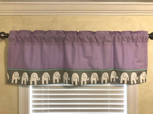 Window Valance - Elephants with Lavender and Aqua