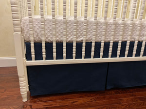 Navy with White Boy Baby Bedding Set, Boy Crib Bedding, Crib Rail Cover Set