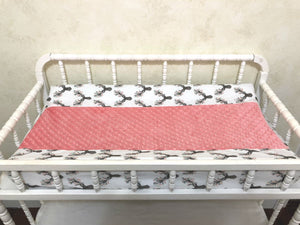 Floral Deer with Coral and Tan Crib Bedding Set Corinna- Girl Crib Bedding, Crib Rail Cover Set