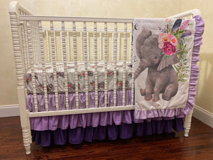 Boho Floral Elephant Girl Crib Bedding- Lavender and Gray Elephant Baby Girl Bedding