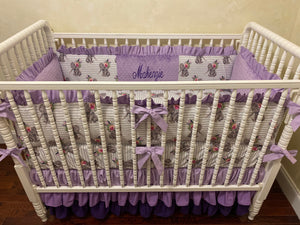 Baby Girl Crib Bedding, Boho Floral Elephant with Lavender, Purple, and Gray