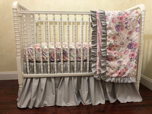 Floral Crib Bedding Set - Pink, Gray, and Lavender Vintage Floral Baby Bedding, Girl Crib Bedding, Crib Rail Cover Set