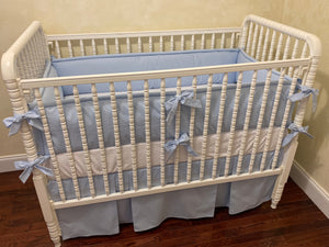 Light Blue Boy Baby Bedding, Light Blue Crib Bedding, Crib Bumpers