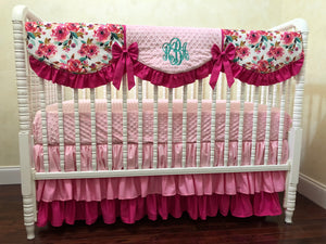 Floral Girl Crib Bedding Set - Girl Baby Bedding, Pink Floral Baby Bedding