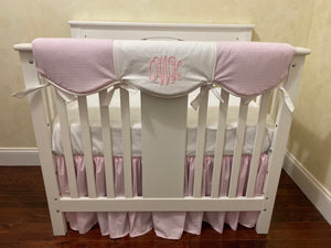 Pink Seersucker Mini Crib Bedding Set - Girl Mini Crib Baby Bedding