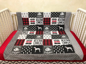 Baby Boy Firefighter Baby Blanket in Gray, Black, and Red