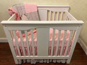Girl Mini Crib Bedding Set - Woodland Deer Girl Mini Crib Baby Bedding