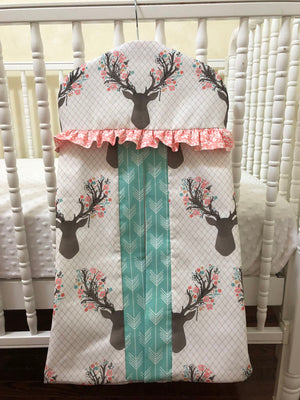 Diaper Stacker - Hanger Style in Floral Deer with Coral and Mint