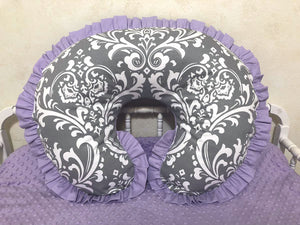 Gray Damask and Lavender Nursing Pillow Cover with Ruffle