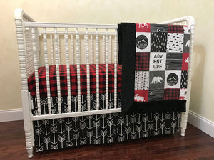 Moose and Bears Woodland Crib Bedding Set - Boy Baby Bedding, Red and Black Plaid, Black Arrows