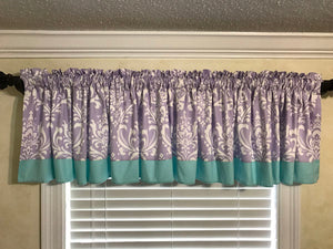 Window Valance - Lavender Damask with Aqua