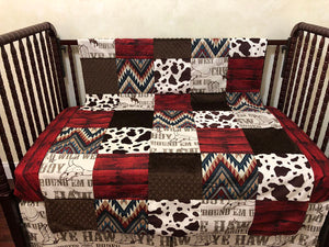 Cowboy Rodeo with Crimson Western Nursery Patchwork Baby Blanket