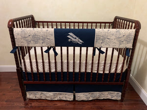 Airplane Crib Bedding Set - Boy Baby Bedding, Airplane Baby Bedding in Cream and Navy