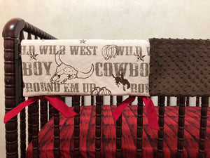 Cowboy Crib Bedding Set - Boy Baby Bedding, Western Nursery Bedding, Crib Rail Cover
