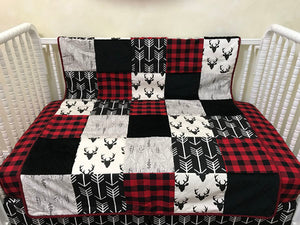 Black Buck and Black Arrows with Red and Black Plaid Woodland Nursery Patchwork Baby Blanket