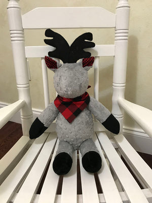 Snuggle Pal Deer - Gray with Red and Black Plaid