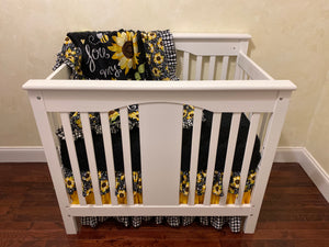 Sunflower Mini Crib Bedding Set - Girl Mini Crib Baby Bedding