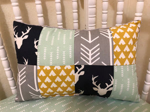 Navy Buck and Mint Patchwork Pillow