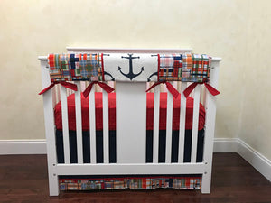 Nautical Plaid Mini Crib Bedding Set - Boy Baby Bedding, Boy Mini Crib Bedding