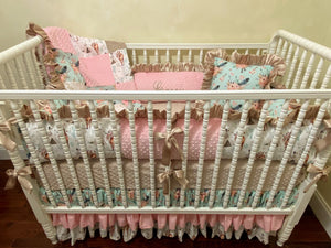 Baby Girl Crib Bedding, Boho Floral Horse with Pink, Aqua, and Taupe