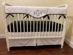 Black and White Baby Bedding - Gender Neutral Crib Bedding, Boy Crib Bedding, Girl Baby Bedding Crib Rail Cover Set