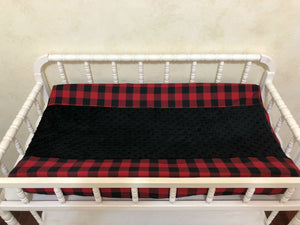 Firefighter Crib Bedding Set - Boy Baby Bedding, Red and Black Plaid, Fire Truck Baby Bedding