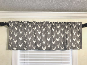 Window Valance- Gray Deer