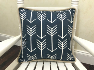 Blue Arrows with Tan Accent Pillow