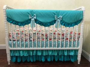 Teal Baby Girl Crib Bedding