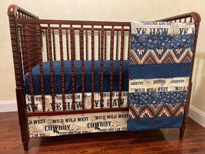 Cowboy Crib Bedding Set - Western Nursery Bedding with Navy, Baby Boy Crib Bedding