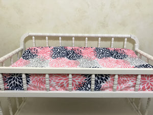 Coral and Navy Girl Crib Bedding - Girl Baby Bedding, Crib Rail Cover with Ruffled Skirt