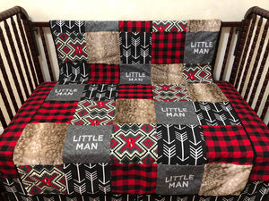 Little Man and Red Plaid Woodland Nursery Patchwork Baby Blanket