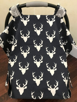 Car Seat Cover - Navy Buck with Gray Arrows