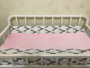 Floral Deer Girl Baby Bedding, Deer Baby Bedding with Pink and Aqua, Girl Crib Bedding, Crib Rail Cover