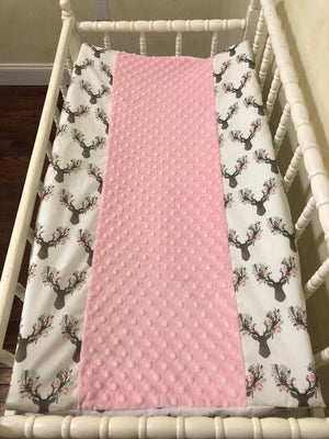 Changing Pad Cover - Floral Deer with Light Pink Minky