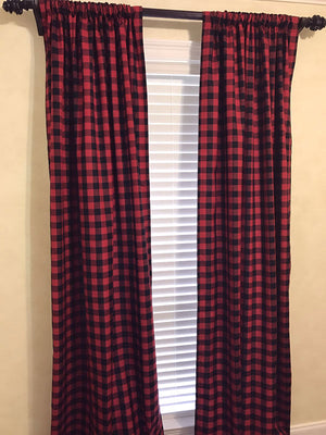 Red and Black Plaid Curtain Panels