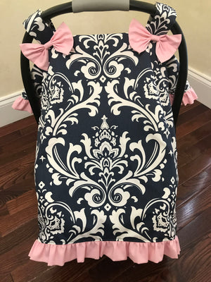 Car Seat Cover - Navy Damask with Light Pink