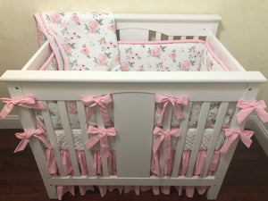 Blush Pink Roses Girl Mini Crib Bedding Set - Girl Mini Crib Baby Bedding,  Mini Crib Bedding, Mini Crib Bumpers