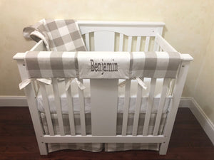Taupe Buffalo Plaid Mini Crib Bedding Set - Boy Mini Crib Bedding