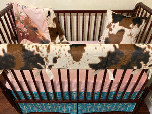Horse Crib Bedding Set, Girl Baby Bedding, Cowhide Baby Bedding, Crib Rail Cover