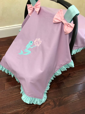 Car Seat Cover - Lavender Mermaid with Aqua and Light Pink