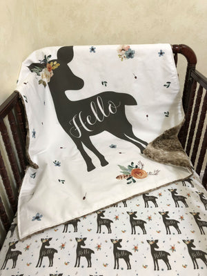 Baby Girl Woodland Deer Blanket - Floral Hello Deer Blanket