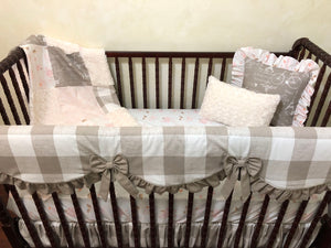 Floral Farmhouse Baby Girl Crib Bedding - Blush Pink and Taupe Plaid Girl Baby Bedding