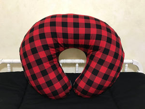 Red Plaid with Black Minky Dot Nursing Pillow Cover