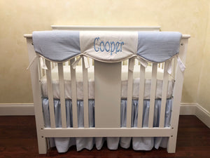 Light Blue Seersucker Mini Crib Bedding Set - Boy Mini Crib Baby Bedding